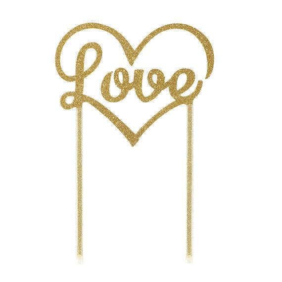 Cake topper doré pailleté Love 1 - Blog Mariage