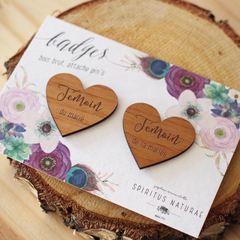 Badges mariage - témoins cœurs 1 - Blog Mariage