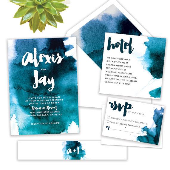 Invitation aquarelle bleue 1 - Blog Mariage