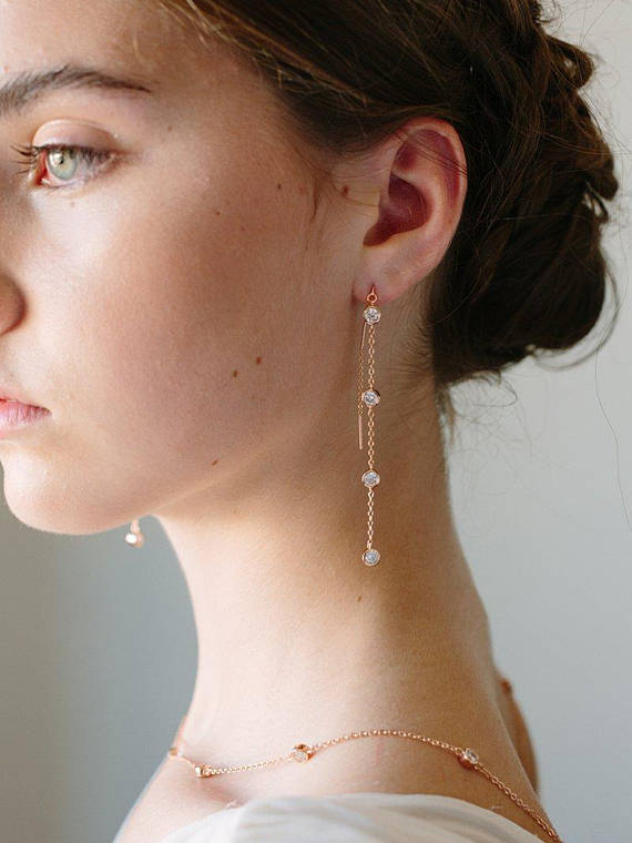 Boucles d'oreilles en or rose 1 - Blog Mariage